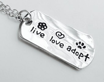Animal Rescue necklace Live Love Adopt Necklace