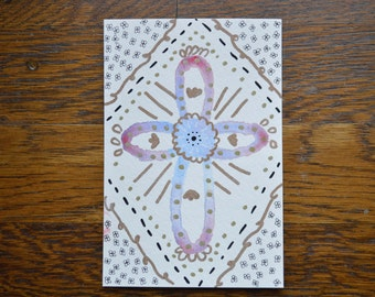 Watercolor Cross Postcard 4x6