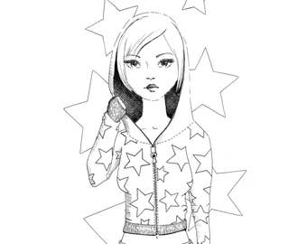 Coloring Page - Girl with the star hoodie