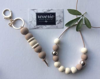 Wooden bead necklace & key chain (TWO FOR ONE)
