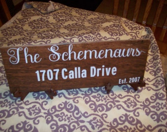 Wood Tile House address sign with last name