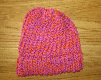100% New Zealand Wool Toddler Beanie - Pink/Orange