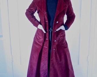 Long Maroon Velvet Coat