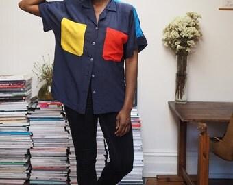 Vintage 80s colour block navy silk shirt | S-M