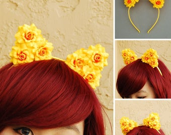 Floral Cat Ear Headband | Flower Kitty Ear Headband -- Sunshine Yellow