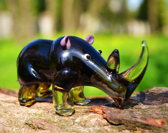 Glass rhino figurines purple animal beads collection collector figurine lover gift animal paperweight rhino sculpture art glass statue big