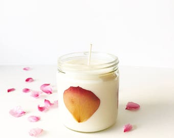 Pressed Flower Candle -Rose Petal // unscented soy wax candle // natural floral jar candles // gifts for her // natural home decor