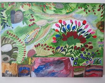 Primative Garden Painting on Pine by NC Folk Artist / Outsider Artist Annie #3