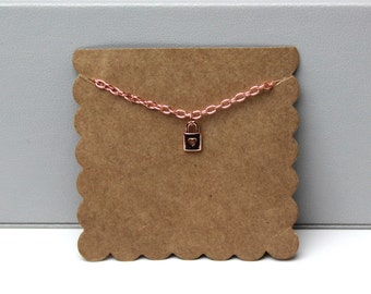 Rose Gold Lock Necklace // dainty rose gold necklace // with gift packaging