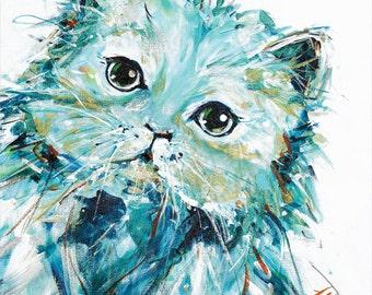 Cat art print, original acrylic painting cat, abstract cat, Persian cat cat lover  cat wall art cat print cat decor christmas gift cat print