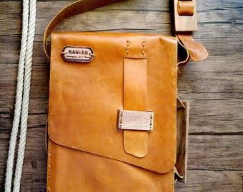 """mens leather messenger bag Briefcase Satchel Tablet Ipad Next Book computer Laptop 12"""" inches"""