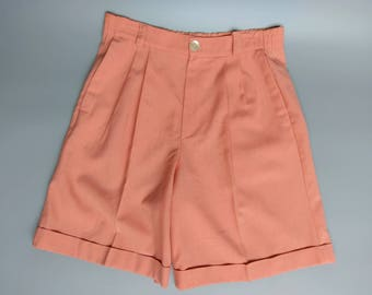 ginger / salmon pink high waisted linen shorts / 10 12 medium