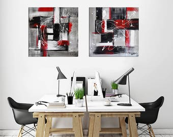 Set of 2 Panels, Original Abstract Art Painting Contemporary Chalky White Red Acrylic Modern Abstract Fine Art by Kathleen Artist Pro