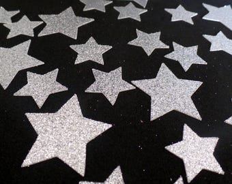 "Glitter star Confetti two sizes 1"" and 1.5""  Silver, Gold (100 pieces) Die Cut - twinkle twinkle, baby shower, birthday Table Decorations"
