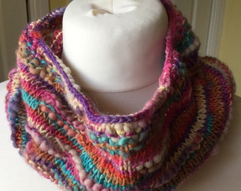 Handknitted snood, knitted snood, multicoloured snood, rainbow snood, brightly coloured snood, handmade snood, knitted cowl,
