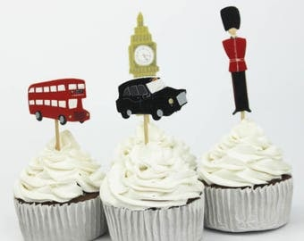 London Themed Cupcake, Cake Toppers (12)