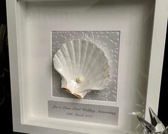 30th Wedding Anniversary gift. Pearl Anniversary. Shell art. White frame. Personalised Anniversary gift. 30th Anniversary present. Frame art
