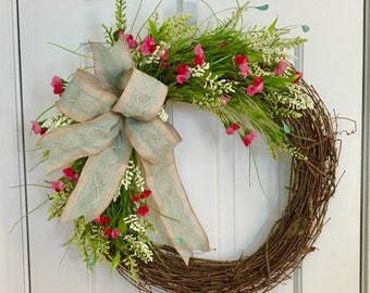 Summer Wildflower Grapevine Wreath, Spring Wreath, All Season Wreath, Font Door Wreath, Mother's Day