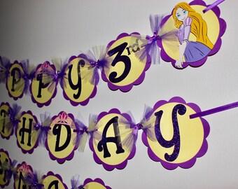 Rapunzel Banner, Tangled Banner, Rapunzel Birthday Party, Disney Birthday, Purple and Yellow, Tangled Birthday