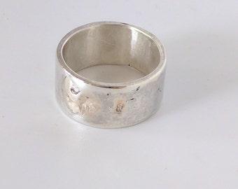 10mm Wide Sterling Silver & 9KT Gold Ring