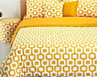 Contemporary Mustard & White Duvet Cover Set