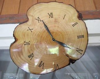 Log Slice Timber Clock