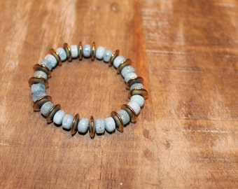 Turquoise and Gold Accent Bracelet