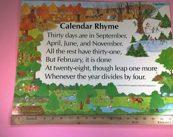 Vintage Educational Poem School Poster 1986 Calendar Rhyme adapted by Babs Bell Hajdusiewicz Illustrated by Penny Carter
