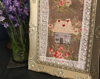 Handmade  Hand Sewn Little House Picture