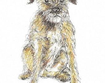 Scruffy the Dog (pack of 4) Greeting Card - blank inside