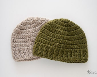 Crochet baby hat, simple design, newborn gift