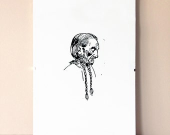 Willie Nelson - linocut A4 - black & white