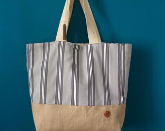 "Beach Bag - The ""SUBTLE GREY"" Beach Bag / Travel Bag / Summer Bag / Tote Bag / Sac de Plage / Sac Fourre-Tout"