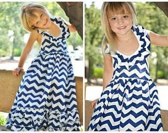 Girls Ready To Ship Navy Blue Chevron Maxi Dress
