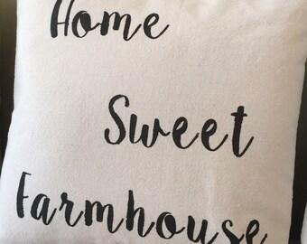 Home Sweet Farmhouse Drop Cloth Pillow Cover