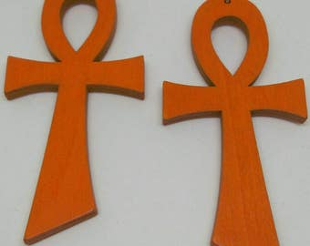 Large orange Ankh earrings