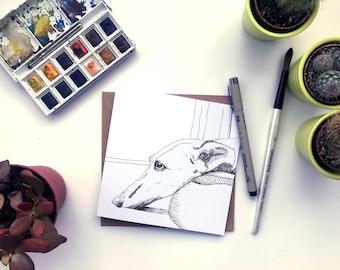 Greyhound card, Greyhonud drawing, Greyhound picture, Greyhound love card, Greyhound gift, greyhound sketch, Card for greyhound owner,