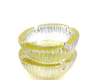Pair of Pale Yellow Decorative Pressed Blenko Glass Glass Ashtrays. Vintage