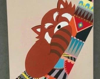 Peinture chambre enfant panda roux motifs incas brun bleu animal nature