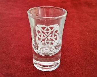 Irish Celtic Knot Shot Glass/Frosted Celtic Knot/Shot Glass/Shamrock Gift Co/Shot Glass/Irish Shot Glass/Irish Barware/Celtic Knot