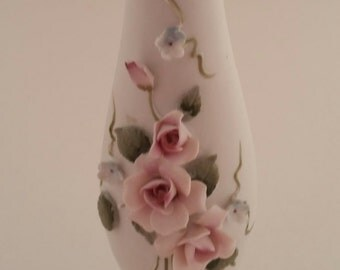 Lefton China White Bisque Applied Rose Vase/Lefton 3829R/Bisque Rose Vase/Vintage Lefton Vase/Lefton Vase/Applied Roses Vase/Vintage Lefton