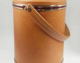 Large vintage brown ice bucket 1980s, faux leather and gold trim, large capacity ice bucket,vintage brown vinyl ice bucket,housewarming gift