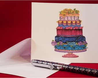 Note Cards, Stationary, Hand Colored w/Pencil, Any Occasion, Blank Inside, Thank you, Set of 8 with Envelopes:  Item #NC2018 birthday cake