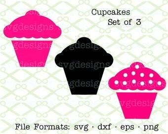 Cupcake SVG, Dxf, Eps & Png. Digital Cut Files for Cricut, Silhouette; Set of 3 Cupcakes Svg, Cupcake Clipart, Digital Cut Files, Value Set