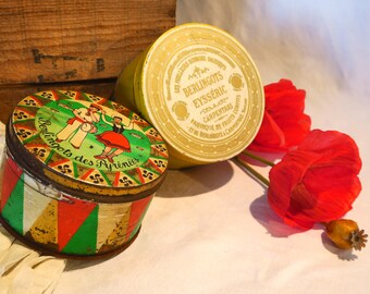 Set of 2 Vintage Berlingots tins, Collection, Sweets,Candies, Red, Green, Gold, White, Berlingots Eysséric and Pyrénées, France, 1930