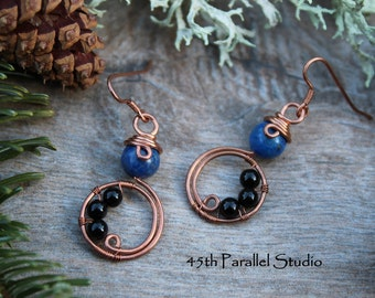 Lapis & Black Agate Copper Earrings, Blue Earrings, Copper Wire Wrapped Earrings, Valentines Gift For Her