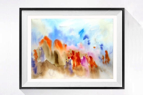 Refugee Fine Art, Black Friday, Sale, Abstract Painting, Political Art, Controversial art, Original watercolor, wall art, LaBerge 15 x 20 in