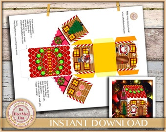DIY Christmas house gift box printable digital instant download