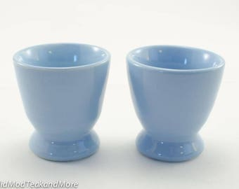 Vintage Egg Cups, Mid Century Egg Cups, Blue Egg Cups