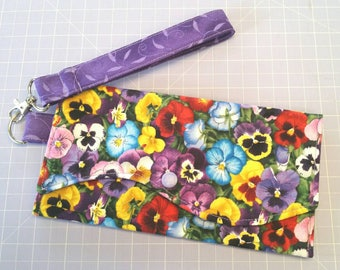 Flower Clutch / Flower Wristlet / Pansy Wristlet / Clutch / Wristlet / Designer Clutch / Bag / Handbag / Purse / Pouch